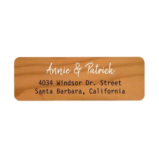 bride & groom elegant names wood return address return address label