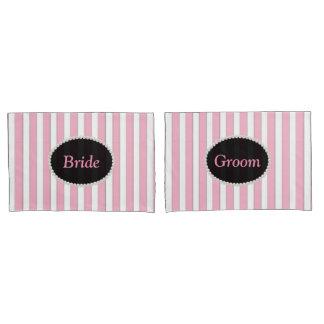 Bride & Groom Elegant Pink Striped Pearl Monogram Pillowcase