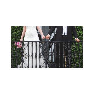 Bride Groom hold hands Canvas Prints