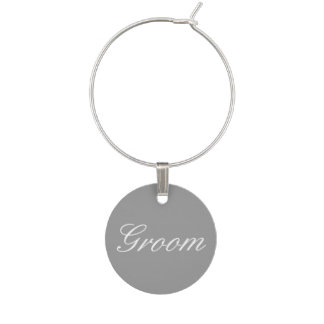 Bride Groom in Gray Wine Glass Charm