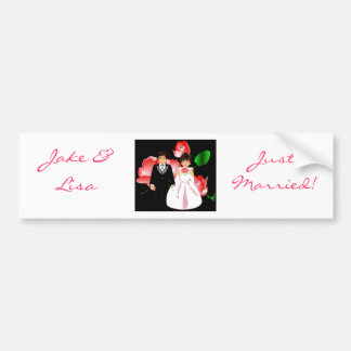 """Bride & Groom Just Married III"" Bumper Sticker"