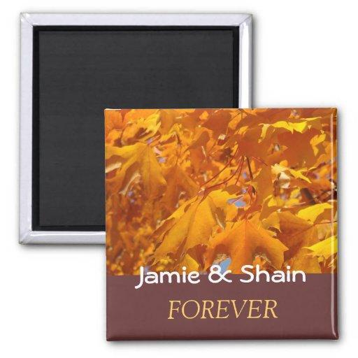 Bride Groom Name Wedding Favors Leaves Forever Fridge Magnets