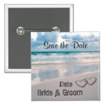Bride & Groom Names Written in the Sand 15 Cm Square Badge