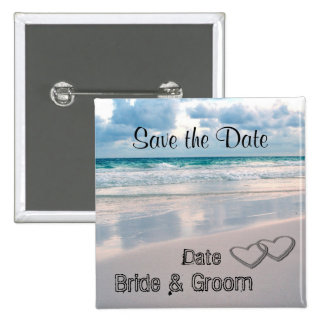 Bride Groom Names Written in the Sand Pins