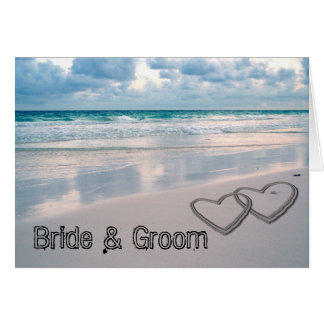 Bride Groom Names Written in the Sand Greeting Cards
