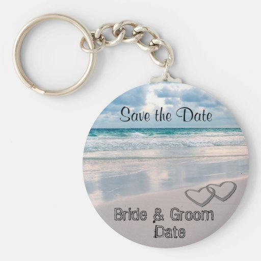 Bride & Groom Names Written in the Sand Key Chains