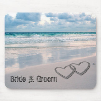 Bride Groom Names Written in the Sand Mouse Pads