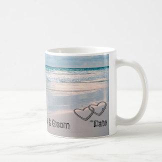 Bride & Groom Names Written in the Sand Coffee Mugs