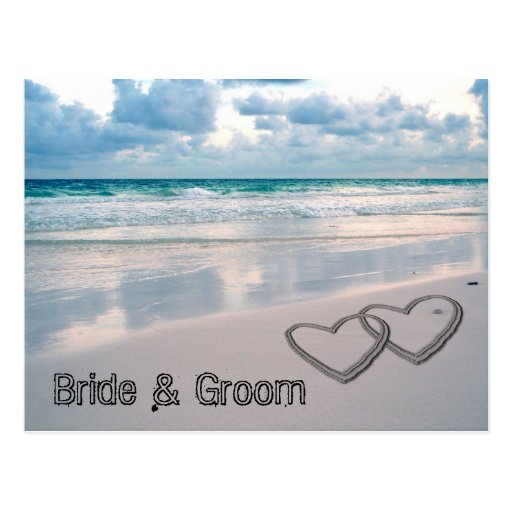 Bride & Groom Names Written in the Sand Postcards