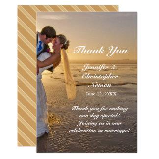 Bride & Groom on Sunset Beach Thank You Card