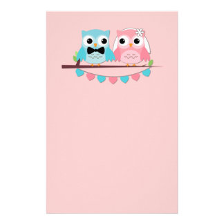 Bride Groom Owls Stationery Paper