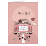 Bride & Groom Pink Getaway Car - Thank You Cards
