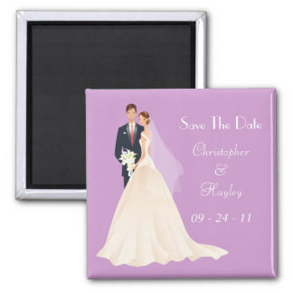 Bride & Groom Save The Date Square Magnet