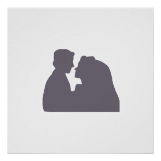 bride & groom silhouette AUTOGRAPH POSTER