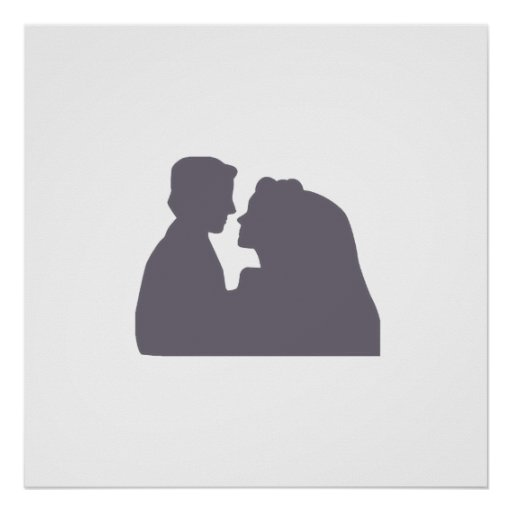 bride & groom silhouette AUTOGRAPH POSTER