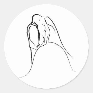 Bride & Groom Sketch Classic Round Sticker