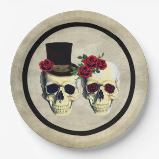 Bride & Groom Skull Skeleton Rustic Wedding Paper Plate