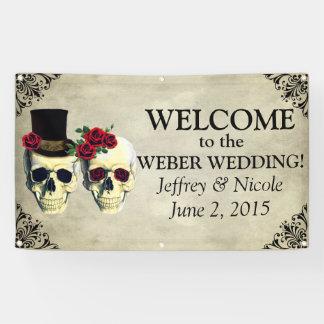 Bride & Groom Skull Wedding Banner