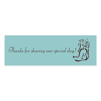 Bride&Groom Teal Favor Tag Business Card Template