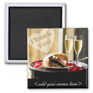 Bride & Groom Thank You Square Magnet