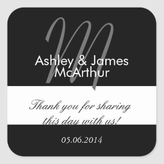 Bride Groom Thank You Wedding Favor Stickers