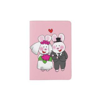 bride & groom wedding bunnies passport holder