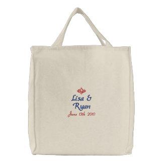Bride & Groom Wedding Date Embroidered Bag