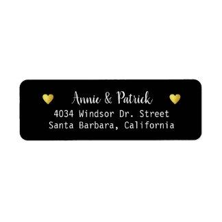 bride & groom wedding return address black return address label