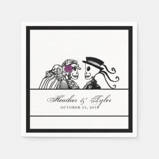 Bride & Groom Wedding Skeletons Purple Rose Names Paper Napkins