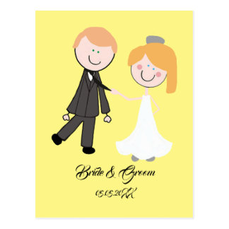 bride groom wedding team postcard