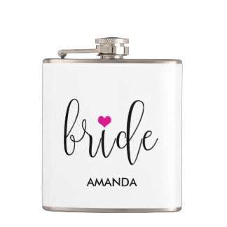 """Bride"" Hot Pink Cute Bridal Party Flask"