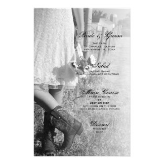Bride in Cowboy Boots and Sunflowers Wedding Menu Customised Stationery