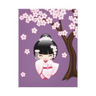 Bride Kokeshi Doll - Cute Oriental Geisha Girl Canvas Print