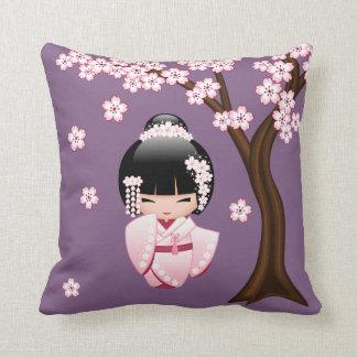 Bride Kokeshi Doll - Cute Oriental Geisha Girl Throw Pillow