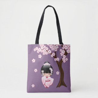 Bride Kokeshi Doll - Cute Oriental Geisha Girl Tote Bag