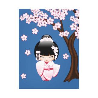 Bride Kokeshi Doll - White Kimono Geisha Girl Gallery Wrapped Canvas