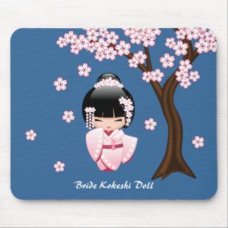 Bride Kokeshi Doll - White Kimono Geisha Girl Mouse Pad