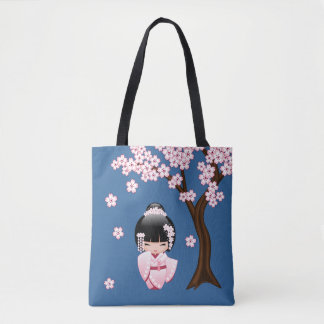 Bride Kokeshi Doll - White Kimono Geisha Girl Tote Bag