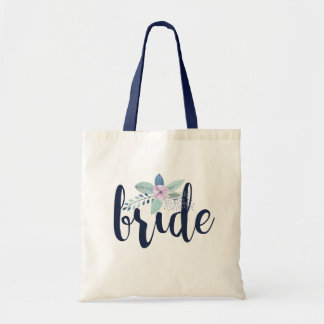 Bride Modern Typography With Floral Bouquet Accent Tote Bag