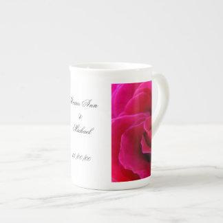 Bride name & Groom Name Mugs Wedding Date Rose Bone China Mug
