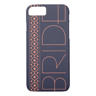 Bride navy blue and coral wedding iPhone 8/7 Case