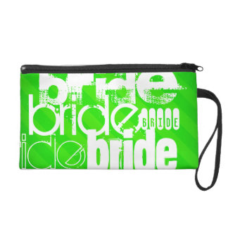 Bride; Neon Green Stripes Wristlet