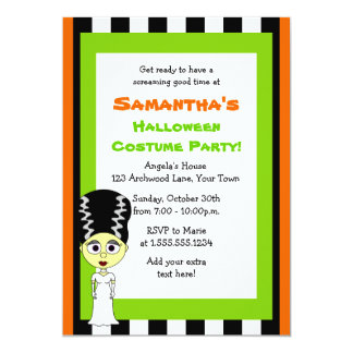 Bride of Frankenstein Halloween Costume Party Card