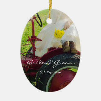 Bride on Red Tractor Country Farm Wedding Ceramic Ornament