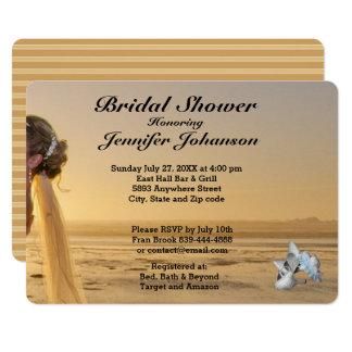 Bride on Sunset Beach Bridal Shower Invitation