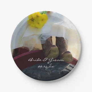 Bride on Tractor Country Farm Wedding 7 Inch Paper Plate