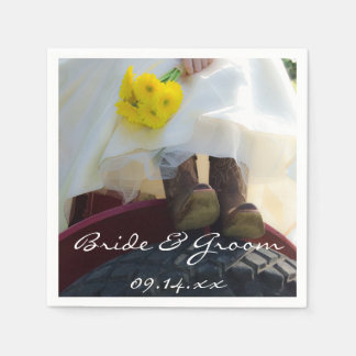 Bride on Tractor Country Farm Wedding Disposable Napkin