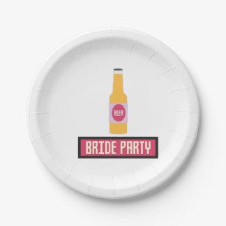 Bride Party Beer Bottle Z6542 Paper Plate