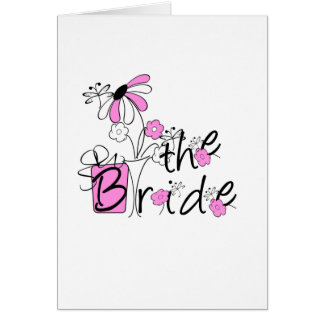 Bride Pink and Black Flowers Tshirts and Gifts Greeting Card