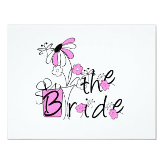Bride Pink and Black Flowers Tshirts and Gifts Personalized Announcement